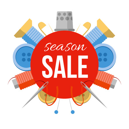 Season sale sign with sewing stuff. For tailor shop, studio or atelier. Tools for handmade at the sides: needles, pins, thread, buttons. Simple style vector illustration. Illustration