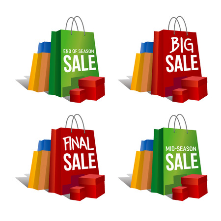 Discount signs. Set of colorful paper shopping bags and present boxes with words Final Sale, Big Sale and same. Isolated on white background. Vector clip art with gradients and shadows. Vectores