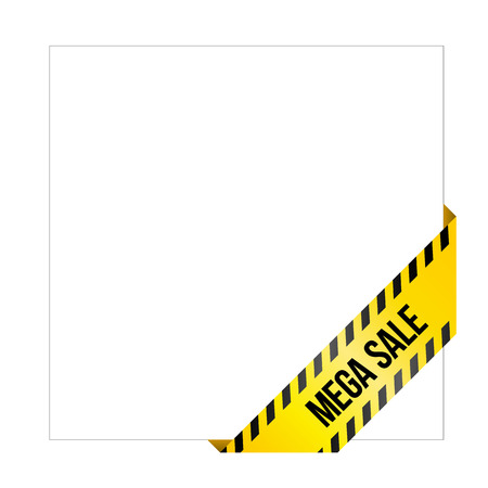 Yellow caution tape with words Mega Sale. Corner label painted like danger ribbon. Discount tag for online shops, car services, industrial and engineering companies. Isolated on white background. Illustration