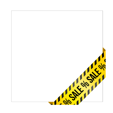 Yellow caution tape with words Sale. Corner label painted like danger ribbon. Discount tag for online shops, car services, industrial and engineering companies. Isolated on white background.