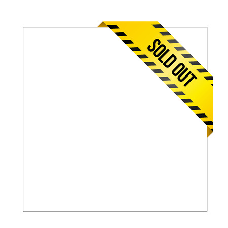 Yellow caution tape with words Sold Out. Corner label painted like danger ribbon. Missing product tag for online shops, car services, industrial companies. Isolated on white background. Illustration
