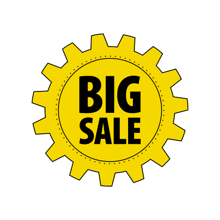 Yellow cartoon gear with words Big Sale isolated on white background. Discount tag for industrial companies, car shops. Cogwheel label for parts stores. Vector design element.