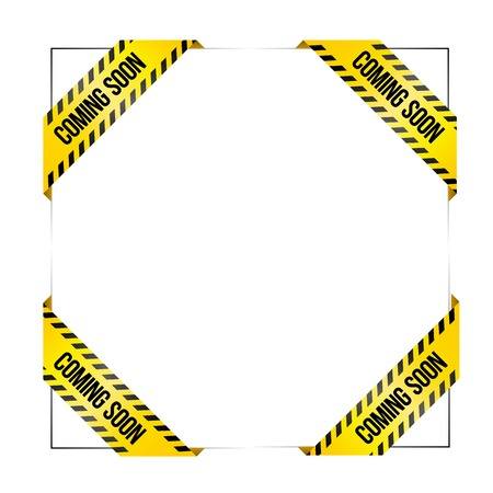 Set of vector ribbons with text Coming soon. Vector labels for missing products in web stores. Styled like caution tape, for industrial or service companies.