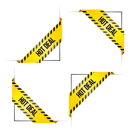 Vier Ecketiketten für den Online-Shop mit den Worten 'Hot Deal'. Gefärbt in Schwarz und Gelb wie Gefahrbänder. Illustration