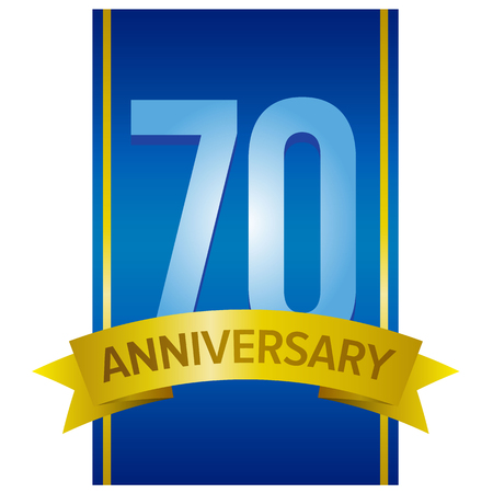 70 years: Big light blue number 70 with gold ribbon and words anniversary below. Vector label on navy blue wide vertical stripe. Seventy years celebration tag.