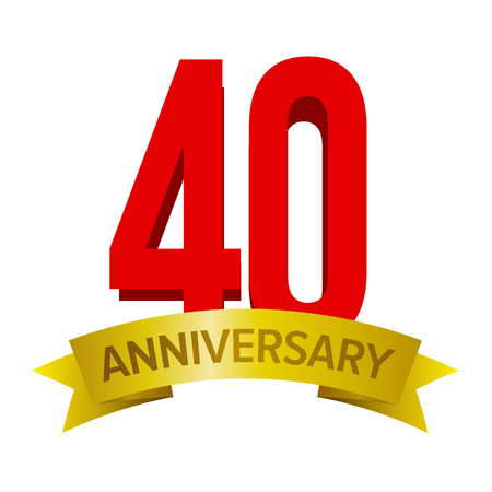 Big red number 40 with gold ribbon and text anniversary below. Vector label on white background. Bright logo for forty ears celebration.