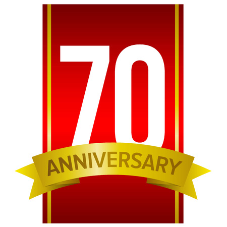 White digits 70 on red background. With yellow ribbon and word Anniversary. Vector label for celebration. Seventy years sign.