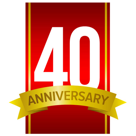 White digits 40 on red background with word Anniversary below. Forty years birthday sign. Vector design element.