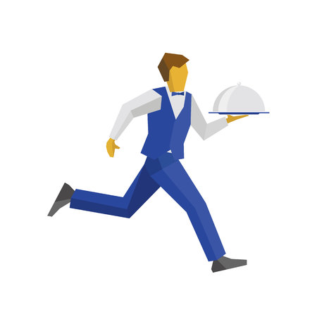 hotel staff: Waiter in blue vest and trousers running with food on tray. Fast catering concept. Simple vector illustration on white background. Person for restaurant or cafe logo. Illustration