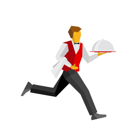 hotel staff: Waiter in red vest and black trousers running with lunch on platter. Fast catering concept  for restaurant or cafe banner. Simple vector person isolated on white background.