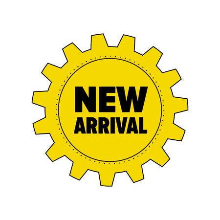 cogwheel: Yellow gear with words New Arrival isolated on white background. Steel cogwheel. Discount tag for industrial companies, car shops. Label for parts store. Vector design element. Illustration