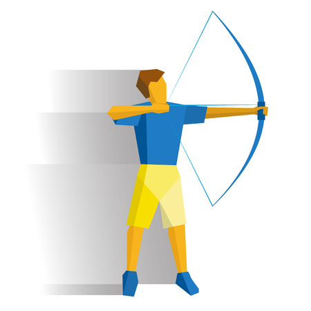 Shooting archer. Athlete with bow isolated on white background with shadows. International sport games infographic. Archery flat style vector clip art. Illustration