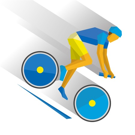 Summer sports - Mountain bike. Cartoon cyclist down the mountain, with shadows behind. Flat style vector clip art isolated on white background.