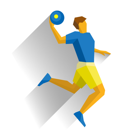 Basketball player isolated on white background with shadows. International Sport Games Infographic. Jumping athlete with ball - flat style vector clip art.