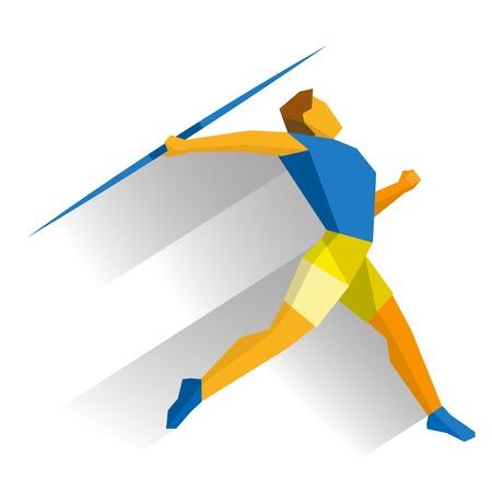 Atleta lanzando la jabalina aislados sobre fondo blanco con sombras. Juegos deportivos internacionales infográficos. Lanzamiento de jabalina - estilo plano clip art vectorial. Foto de archivo - 75330373