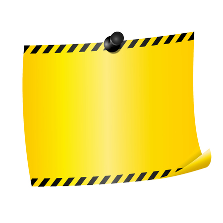 Blank paper sheet fixed by pin. Yellow page with caution stripes at the edges. Isolated on white background. Illustration