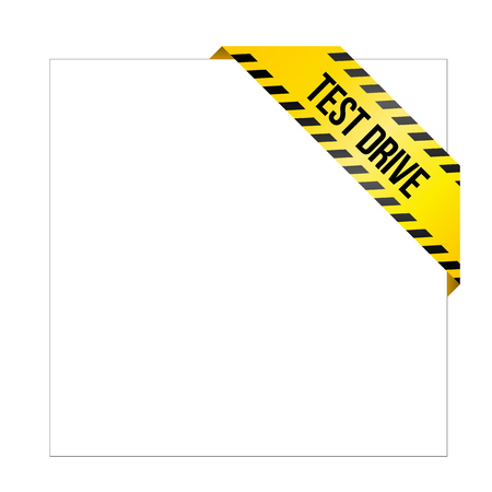 Yellow caution tape with words Test Drive. Corner label painted like danger ribbon. Product tag for online shops, car services, industrial and engineering companies.