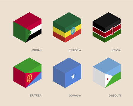 Set of isometric 3d boxes with flags of African countries. Simple containers with standards - Sudan, Ethiopia, Kenya, Eritrea, Somalia, Djibouti. Geometric icons for infographics.