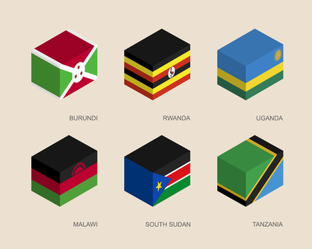 Set of isometric 3d boxes with flags of African countries. Simple containers with standards - Burundi, Rwanda, Uganda, Malawi, South Sudan, Tanzania. Geometric icons for infographics. Illustration