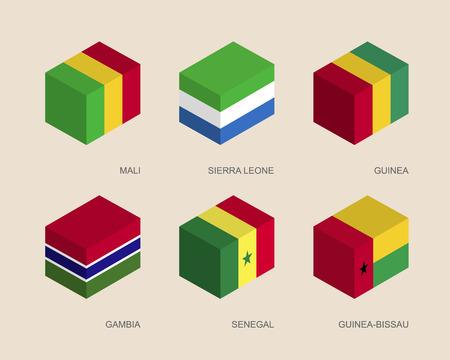 gambia: Set of isometric 3d boxes with flags of African countries. Simple containers with standards - Mali, Sierra Leone, Guinea, Gambia, Senegal, Guinea-Bissau. Geometric icons for infographics.