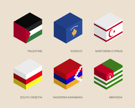 Isometric 3d boxes with flags of a disputed territories and partially recognised states. Containers with standards - Palestine, Kosovo, Northern Cyprus, Abkhazia, South Ossetia, Nagorno-Karabakh Illustration