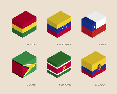Conjunto de cajas 3d isométricas con banderas de los países de América del Sur. Contenedores simples con estándares - Bolivia, Venezuela, Chile, Guyana, Suriname, Ecuador. Iconos geométricos para infografías.