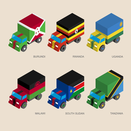 Set of isometric 3d cargo trucks with flags of African countries. Cars with standards -  Burundi, Rwanda, Uganda, Malawi, South Sudan, Tanzania. Transport icons for infographics.
