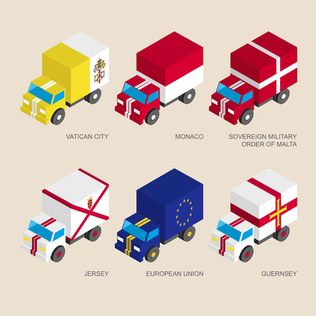 Set of isometric 3d cargo trucks with flags of European countries. Cars with standards -  Vatican, Monaco, Order of Malta, Jersey, Guernsey, European Union (EU). Transport icons for infographics. Illustration