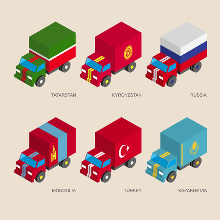 Set of isometric 3d cargo trucks with flags of Asian countries. Cars with standards - Russia, Kazakhstan, Kyrgyzstan, Turkey, Tatarstan, Mongolia. Transport icons for infographics. Illustration