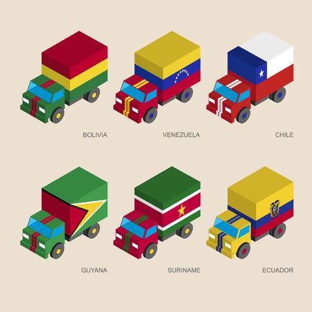 Conjunto de camiones de carga isométrica 3d con banderas de países de América del Sur. Coches con estándares: Bolivia, Venezuela, Chile, Guyana, Surinam, Ecuador. Iconos de transporte para la infografía.