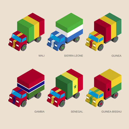 Set of isometric 3d cargo trucks with flags of African countries. Cars with standards -  Mali, Sierra Leone, Guinea, Gambia, Senegal, Guinea-Bissau. Transport icons for infographics.