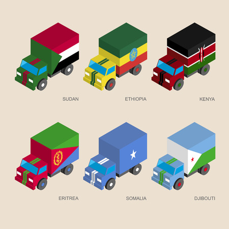 national flag ethiopia: Set of isometric 3d cargo trucks with flags of African countries. Cars with standards -  Sudan, Ethiopia, Kenya, Eritrea, Somalia, Djibouti. Transport icons for infographics. Illustration