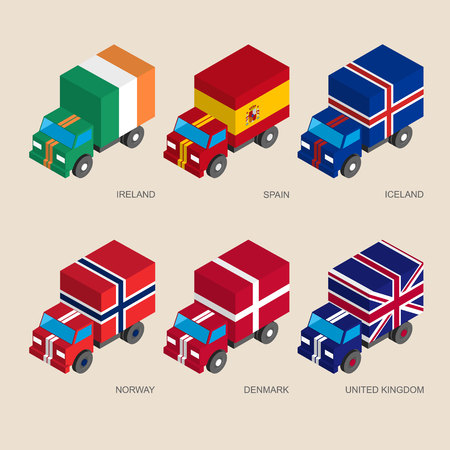 kingdom of spain: Set of isometric 3d cargo trucks with flags. Cars with standards - Denmark, UK (United Kingdom), Spain, Norway, Ireland, Iceland. Transport icons for infographics.