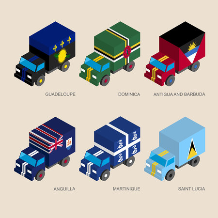Set of isometric 3d cargo trucks with flags of Caribbean countries. Cars with standards - Guadeloupe, Dominica, Antigua, Martinique, Saint Lucia, Anguilla. Transport icons for infographics. Vetores