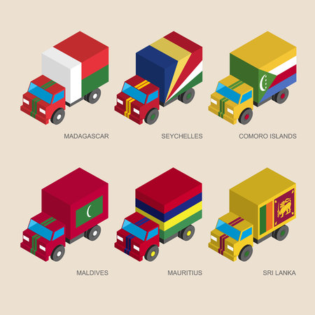 Set of isometric 3d cargo trucks with flags of countries Indian ocean. Cars with standards -  Madagascar, Seychelles, Comoro Islands, Maldives, Mauritius, Sri Lanka. Transport icons for infographics. Illustration