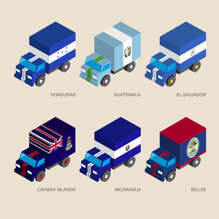 Set of isometric 3d cargo trucks with flags of Caribbean countries. Cars with standards -  Honduras, Guatemala, El Salvador, Cayman Islands, Nicaragua, Belize. Transport icons for infographics.