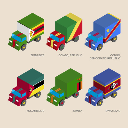Set of isometric 3d cargo trucks with flags of African countries. Cars with standards -  Zimbabwe, Zambia, Mozambique, Swaziland, Congo Republic. Transport icons for infographics. Illustration