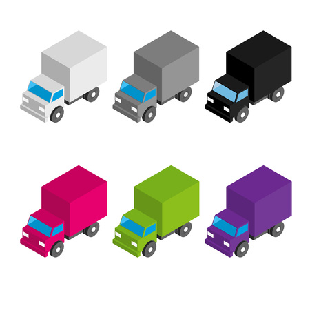 Set of colored and gray isometric 3d cargo trucks. Cartoon cars. Toy transport icons for infographics. Illustration