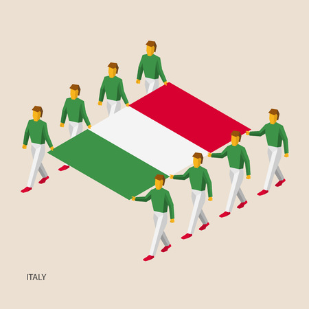 power giant: Eight people hold big flag of Italy. 3D isometric standard bearers. Italian sport team. Simple vector illustration for infographic.