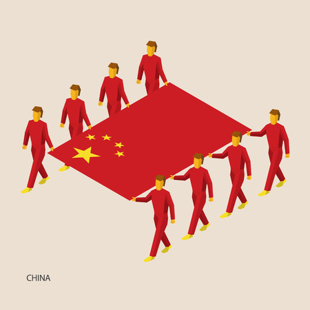 Eight people hold big flag of China. 3D isometric standard bearers. Chinese sport team. Simple vector illustration for infographic. Иллюстрация