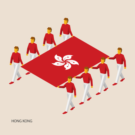 Eight people hold big flag of Hong Kong. 3D isometric standard bearers. Asian sport team. Simple vector illustration for infographic.
