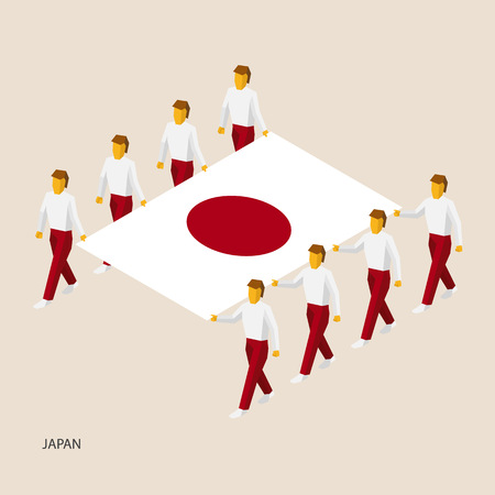 Eight people hold big flag of Japan. 3D isometric standard bearers. Japanese sport team. Simple vector illustration for infographic.