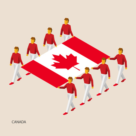 Eight people hold big flag of Canada. 3D isometric standard bearers. Canadian sport team. Simple vector illustration for infographic.