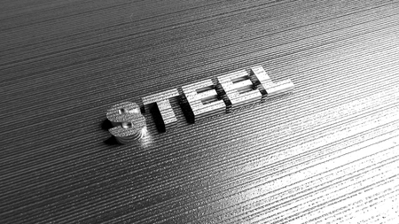 alloy: Word Steel on metal background. Lettering for production company, chemical industry defense or safety services. 3D Rendering.