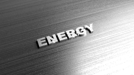 Metal word Energy on steel background. Lettering for sport company or power production. Label template for any product that is associated with energy. 3D Rendering. Stock fotó