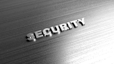 alloy: Metal word Security on steel background. Lettering for data protection, insurance company, defense service or web safety. 3D Rendering. Stock Photo
