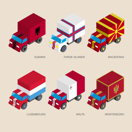 Set of isometric 3d cargo trucks with flags of countries in Central Europe. Cars with standards - Albania, Faroe Islands, Macedonia, Luxembourg, Malta, Montenegro. Illustration
