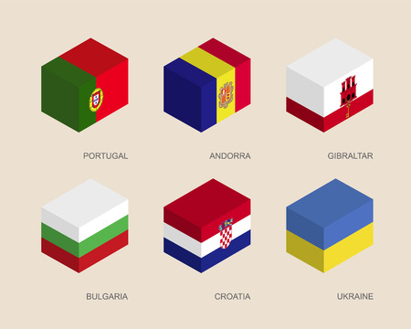 Set of isometric 3d boxes with flags of European countries. Simple containers with standards - Portugal, Andorra, Ukraine, Gibraltar, Croatia, Bulgaria. Geometric icons for infographics.