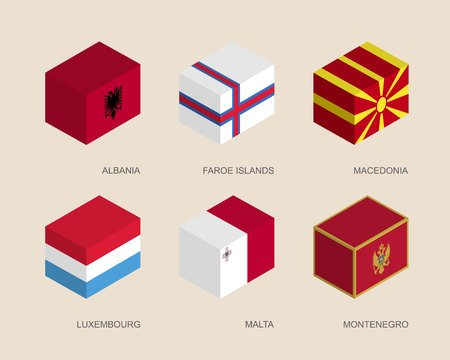 Set of isometric 3d boxes with flags of countries in Europe. Simple containers with standards - Albania, Faroe Islands, Macedonia, Luxembourg, Malta, Montenegro. Geometric icons for infographics.