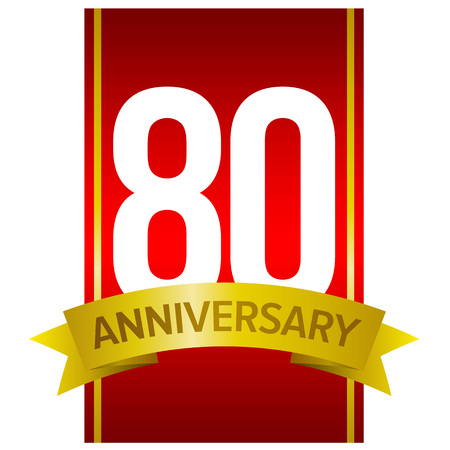 80th: White digits 80 on red background. With yellow ribbon and word Anniversary. Vector label for celebration. Eighty years party sign. Design element for gifts, greeting cards and invitations.